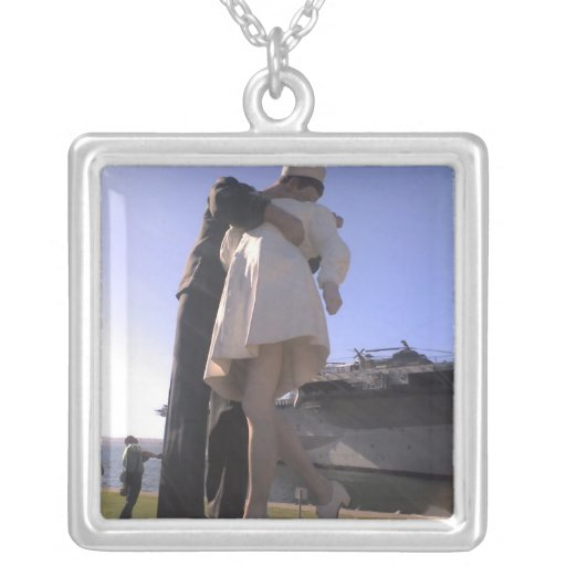 One Big Kiss in San Diego Square Pendant Necklace