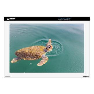 "One big swimming sea turtle Caretta 17"" Laptop Decals"