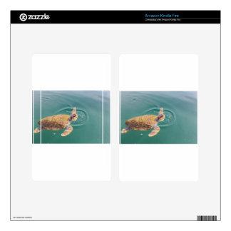 One big swimming sea turtle Caretta Kindle Fire Skin