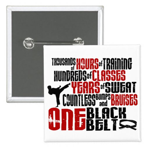 ONE Black Belt 2 KARATE T-SHIRTS & APPAREL 2 Inch Square Button