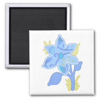 ONE blue flower 2 Inch Square Magnet