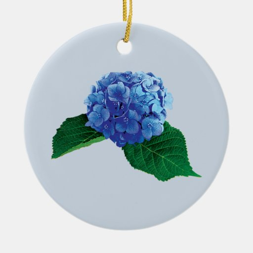 White Christmas Tree Blue Ornaments : One blue hydrangea christmas tree ornament zazzle