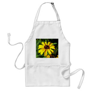 One Bright Yellow Black-Eyed Susan Flower with Bee Adult Apron
