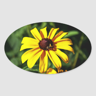 One Bright Yellow Black-Eyed Susan Flower with Bee Oval Sticker