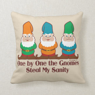 One by one the Gnomes Funny Design Throw Pillow
