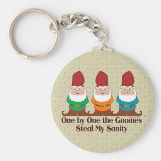 One By One The Gnomes Humor Basic Round Button Keychain