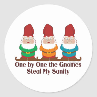 One By One The Gnomes Round Stickers