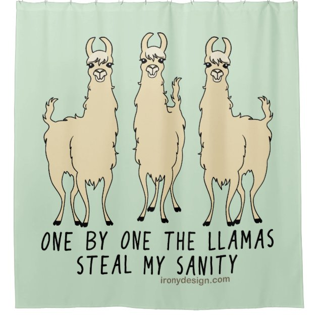One By One The Llamas Steal My Sanity Funny Shower Curtain Zazzle Com