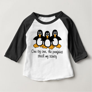 One by One The Penguins Funny Saying Design Baby T-Shirt