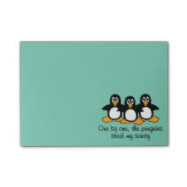 One by One The Penguins Funny Saying Design Post-it Notes
