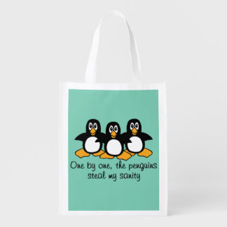 One by One The Penguins Funny Saying Design Reusable Grocery Bag