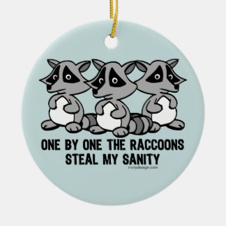 One By One The Raccoons Ceramic Ornament