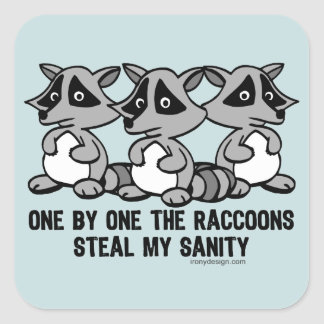 One By One The Raccoons Funny Design Square Sticker
