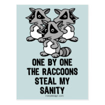One By One The Raccoons Postcard