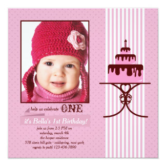 One Candle Photo Birthday Invitation