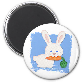 One Carrot Quilted White Rabbit Magnet