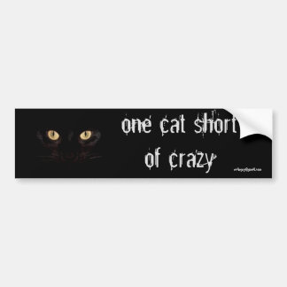 one cat short bumper sticker