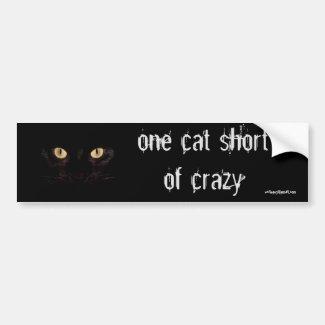 one cat short car bumper sticker