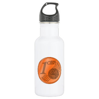 One Cent Euro Coin Water Bottle