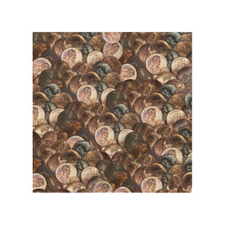 One Cent Penny Spread Background Wood Print