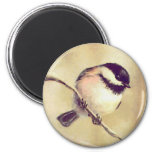 ONE CHICKADEES by SHARON SHARPE 2 Inch Round Magnet