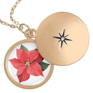 One Christmas Poinsettia Round Locket Necklace