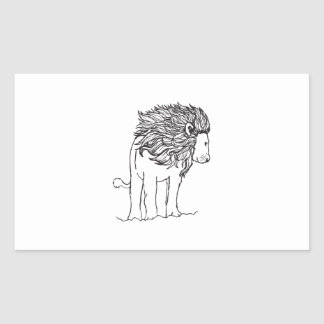 ONE COLOR LION RECTANGULAR STICKERS