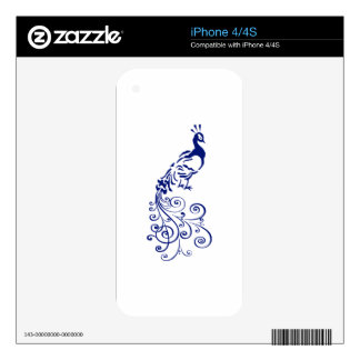 ONE COLOR PEACOCK DECALS FOR iPhone 4S