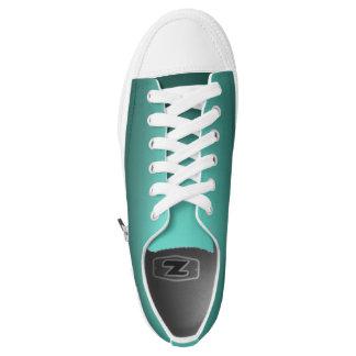 One Color Plain Gradient Teal Low-Top Sneakers