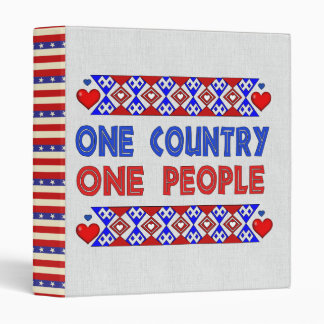 One Country One People 3 Ring Binder