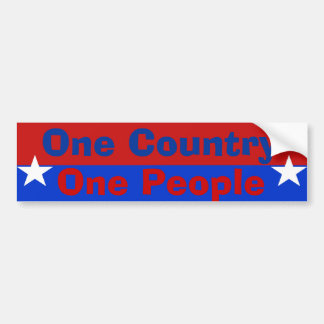 One Country One People Car Bumper Sticker