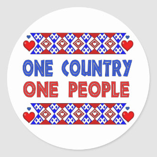 One Country One People Classic Round Sticker