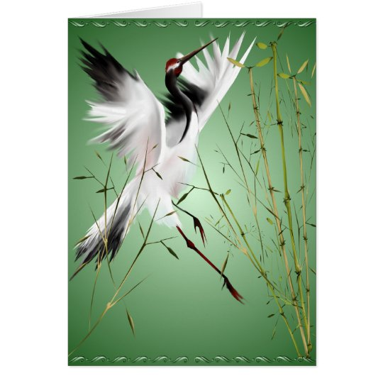 One Crane In Bamboo  Cards