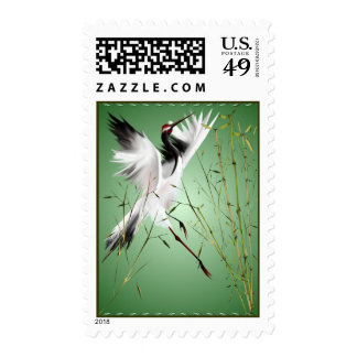 One Crane In Bamboo Postage
