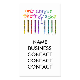 ONE CRAYON SHORT OF A BOX Double-Sided STANDARD BUSINESS CARDS (Pack OF 100)