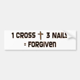 One cross three nails forgiven car bumper sticker