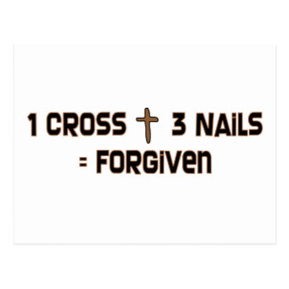 One cross three nails forgiven postcard