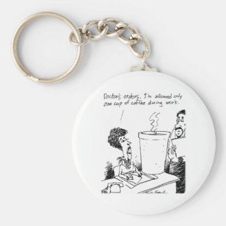 One Cup A Day Basic Round Button Keychain