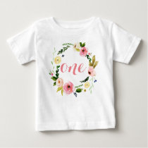 One Custom Baby Girl Watercolor Floral Wreath Baby T-Shirt