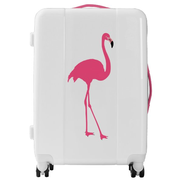 One cute pink flamingo isolated luggage