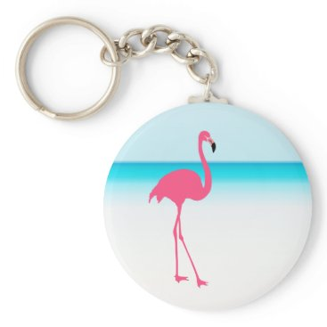 Beach Themed One cute pink flamingo on the beach keychain