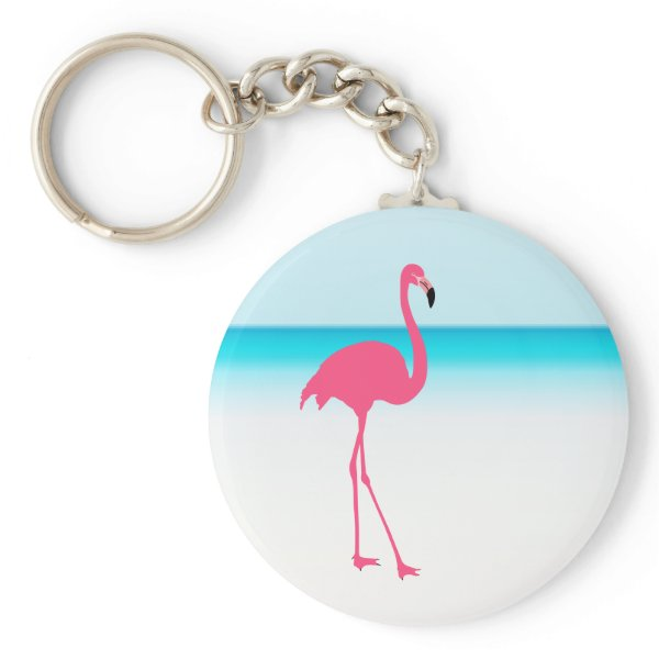 One cute pink flamingo on the beach keychain