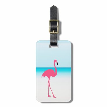 Beach Themed One cute pink flamingo on the beach luggage tag