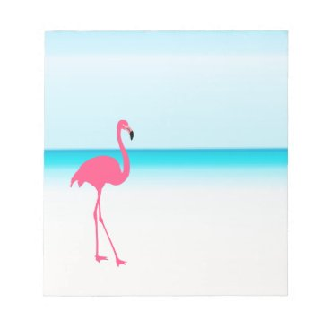 One cute pink flamingo on the beach notepad