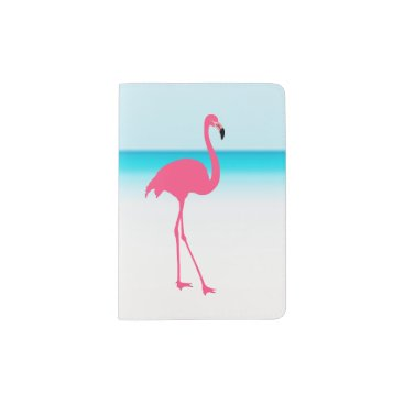 Beach Themed One cute pink flamingo on the beach passport holder