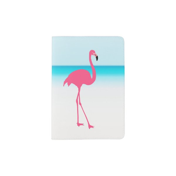 One cute pink flamingo on the beach passport holder