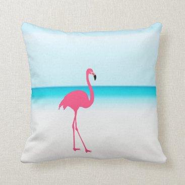 Beach Themed One cute pink flamingo on the beach throw pillow
