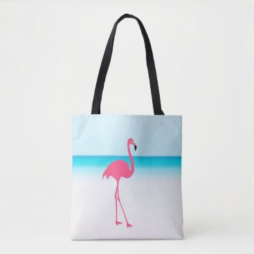 Beach Themed One cute pink flamingo on the beach tote bag