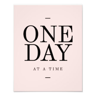 One Day Achieving Goals Quote Blush Pink Gift Photographic Print