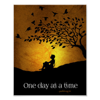 One Day at a Time (12 Step Recovery Female) Poster